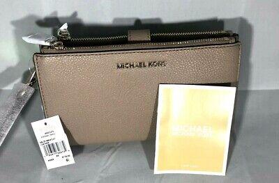 Michael Kors Adele Leather Womens Double Zip Smartphone Wristlet Purse Truffle