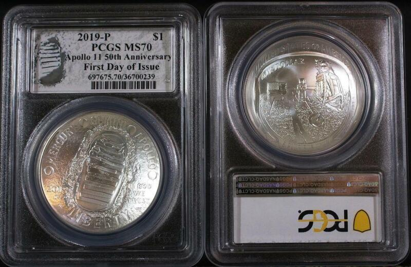 2019-P $1 .999 Silver Apollo 11 50th Anniversary PCGS MS70 First Day of Issue