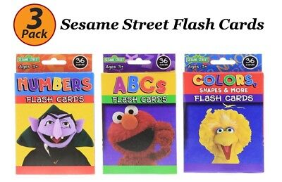3 Pack Sesame Street Flash Cards Early Learning Colors Numbers ABC Flash Cards