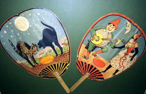 Pre~20s German Litho Halloween Fans/ Noisemakers,  Scardy Cats, Pierrot, Punch