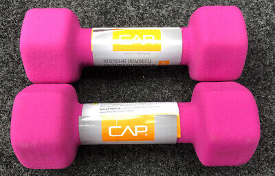 New CAP Hex Neoprene 5 lb Dumbbell Workout Exercise Barbell lWeights Set of 2