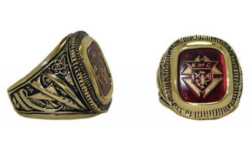 New Knights Of Columbus Red Stone Ring 14k Gold Plated SIZE 13