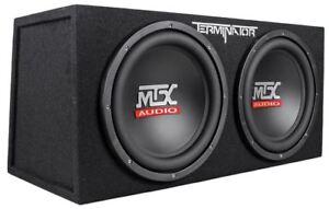 "MTX Terminator TNE212D 1200 Watt 2 Ohm Dual 12"" Subwoofers/Subs + Sealed Sub Box"