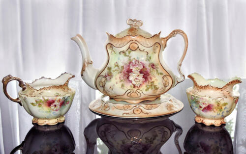 Crown Devon Royal Devon S F Co X543 Blush Tea Set Teapot Stand Sugar Creamer