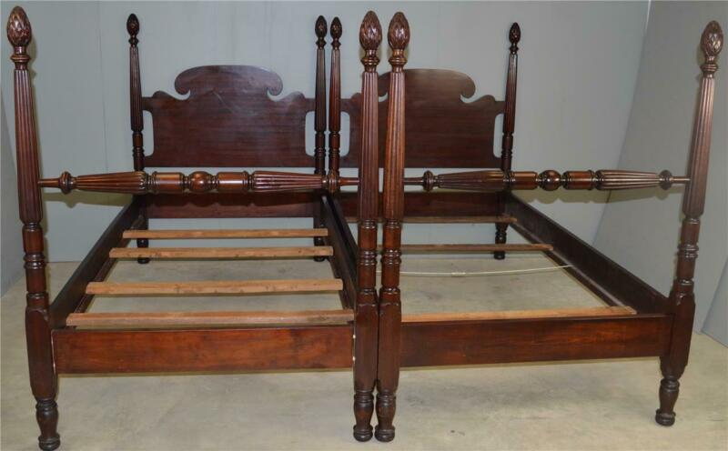18635 Pair of Custom Mahogany Twin Poster Beds by Charak