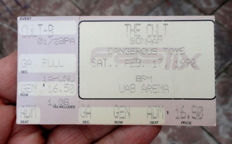 1990 THE CULT Concert MUSIC Ticket Stub UAB University of Alabama BIRMINGHAM