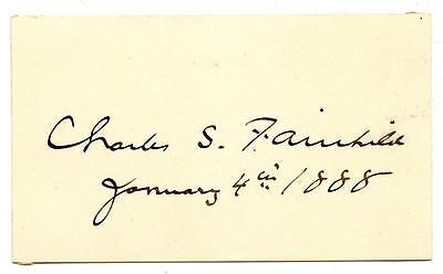 Charles S. Fairchild Autograph Secretary Treasury Under Grover Cleveland NY