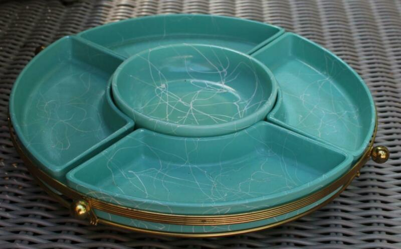 Atomic Mid-Century Modern Chip and Dip Snack Tray Turquoise with White Swirls