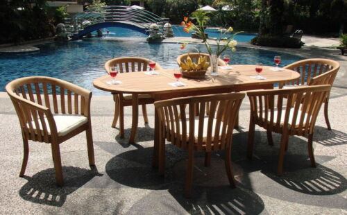"""Lenong A-grade Teak 7 Pc Dining 94"""" Oval Table Arm Chair Set Outdoor Patio New"""
