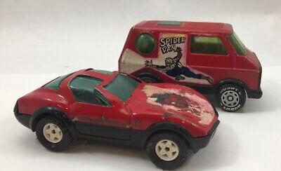 Vintage 1980's Buddy L Spider Car and Spider Van, Diecast
