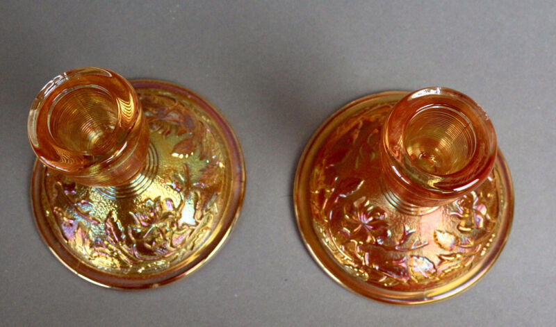 Imperial Carnival Glass Vintage Lustre Rose Candlesticks Marigold