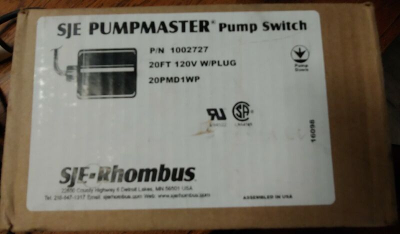 SJE PumpMaster Pump Switch 20' With Plug 20PMD1WP P/N 1002727 Water Well /Septic
