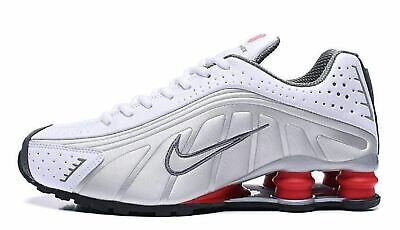 wholesale dealer 5b34e 88aaa Mens Nike Shox R4 White Silver Red Running Shoes Size 8