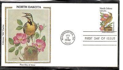 US SC # 1986 State Birds And Flowers ( North Dakota ) FDC. Colorano Cachet .