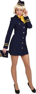 Stewardess Kostüm Blau (Stewardess Damen Kostüm in blau als Flugbegleiterin zu Karneval Fasching )