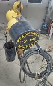Palan 2 tonnes Vulcan 575 volts 15 pieds minute 10 pieds de chaine Sac vinyle