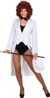 weißer Frack mit Satinkragen zum Damen Show Kostüm Karneval Fasching - Weiße Kragen Kostüm