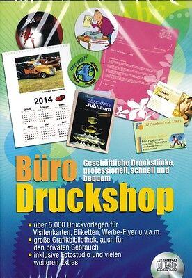 Büro Druckshop 5000 Druckvorlagen Etiketten Flyer uvm PC WIN7 Neu / OVP Software
