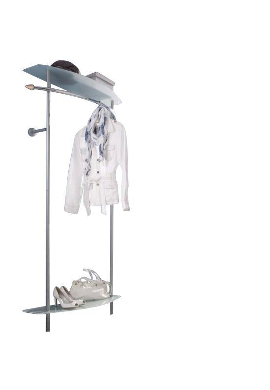 wandgarderobe mit ablagen glas metall garderobenleiste garderobe flurgarderobe eur 54 90. Black Bedroom Furniture Sets. Home Design Ideas
