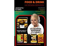 Food and Drink Business Website Flyer Menu Design and WordPress Online Telephone Tutoring From Home