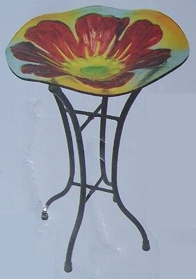 "Bird Feeder Bath Poppy Glass with metal stand NEW 11 1/2"" in diameter"