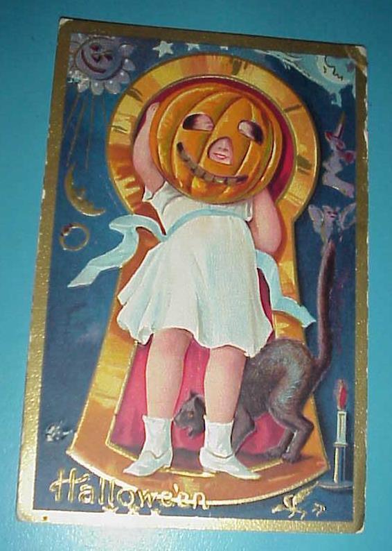 Vintage KEYHOLE Series Halloween Embossed Post Card,Child,black cat,JOL,witch,