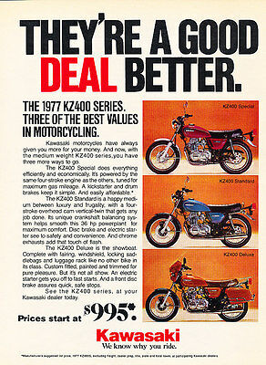 1977 Kawasaki KZ400 Series Motorcycles - Classic Vintage Advertisement Ad D148