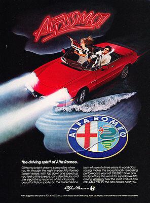 1984 Alfa Romeo Spider Classic Advertisement Ad P60
