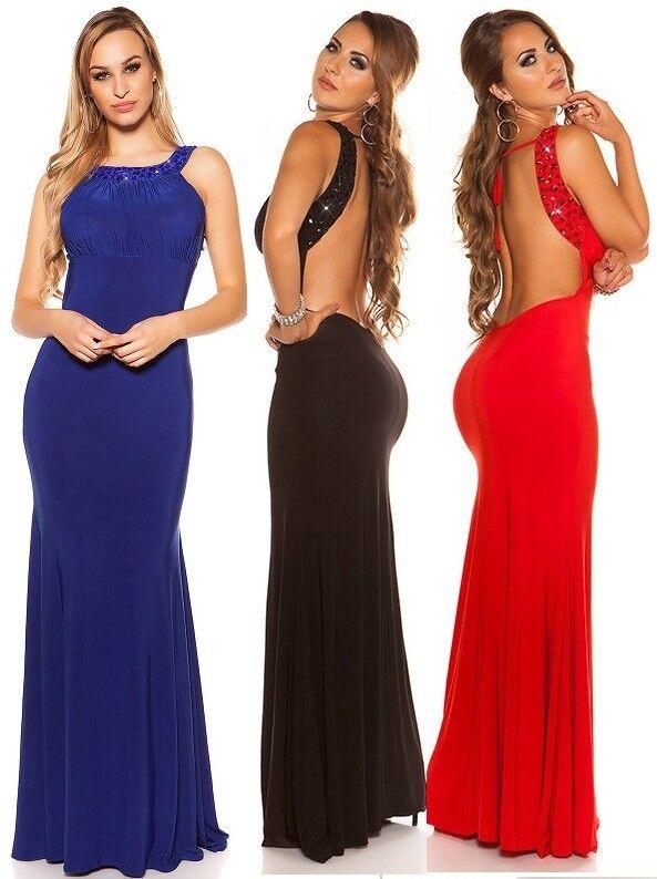 Koucla Damen Kleid Maxikleid Abendkleid Gala Cocktailkleid Rückenfrei mit Strass