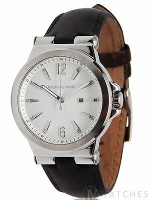 Brand New Womens Michael Kors  Mk2601  Black Leather Silver Tone Watch Sale