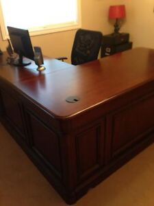 Beautiful solid wood wrap around desk.