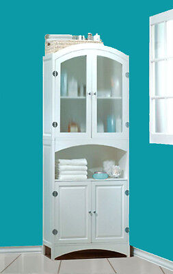 NEW WHITE WOOD LINEN CABINET~BATHROOM/LAUNDRY STORAGE HOME DECOR FURNITURE -1-