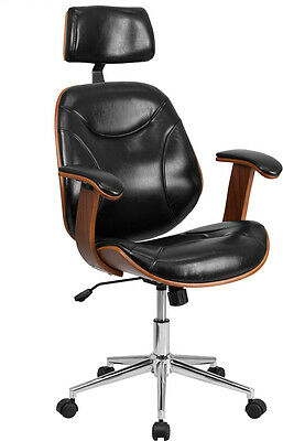 High Back Black Leather Executive Wood Office Chair - Office Desk Chair