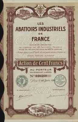 Abattoirs Industriels De France S.A. Paris 100 Francs Schlachthöfe Metzgereien
