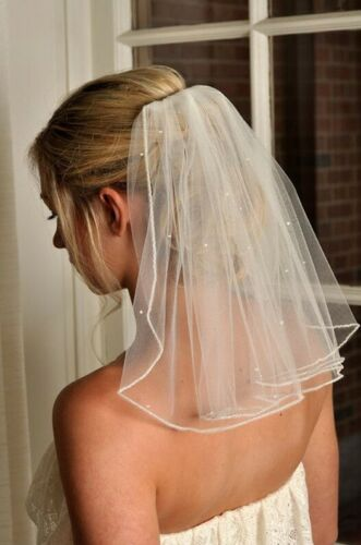 Wedding veil white with crystals bride bridal elegant beautiful short tulle comb