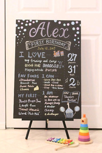 Custom Made - First Birthday Chalkboard Style Sign