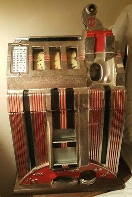 Mills 1934 Skyscraper 5-Cent Slot Machine (Restored) With Original Back.