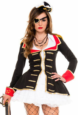 Music Legs Cute Captain Sexy Pirate Halloween Cosplay Costume Adult XL #N104