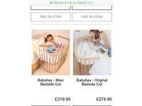 Babybay bedside crib in white