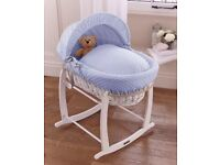 Baby Moses basket and white rocking stand