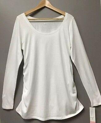 Women's Liz Lange Maternity Top Long Sleeve White T-shirt Tee pregnancy Medium