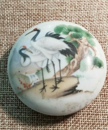 Antique Chinese Round Porcelain Stoneware Snuff Box Cranes  Signed