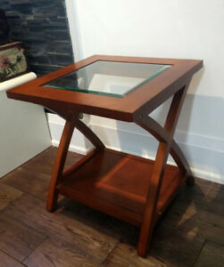 Side table with glass top - Solid Wood
