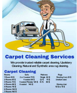 Best price  carpet steam cleaning 4 rooms 88$, Vacate cleaning
