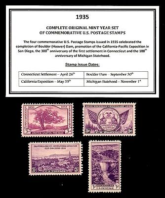 1935 COMPLETE YEAR SET OF MINT -MNH- VINTAGE U.S. POSTAGE STAMPS