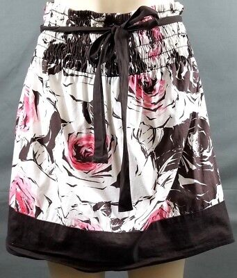 Women's W Wrapper Skirt Floral Print Cotton Spandex Belt Tie Front