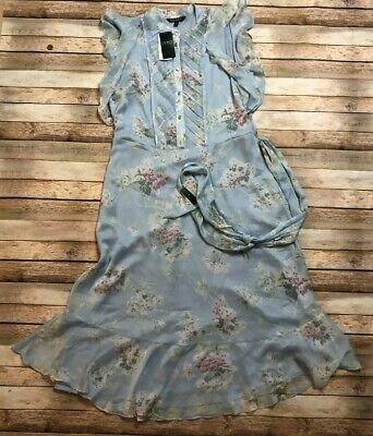 Ralph Lauren Womens Blue Sheer Lined Dress Size 16 Layered