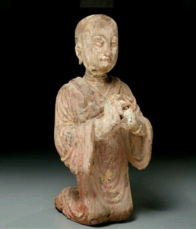 KOREAN 15TH CENTURY POLYCHROME WOODEN BUDDHISM MONK
