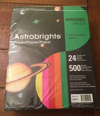 Astrobrights Premium Color Paper 8.5 X 11 24 Lb 5-color Assortment 500 Sheets
