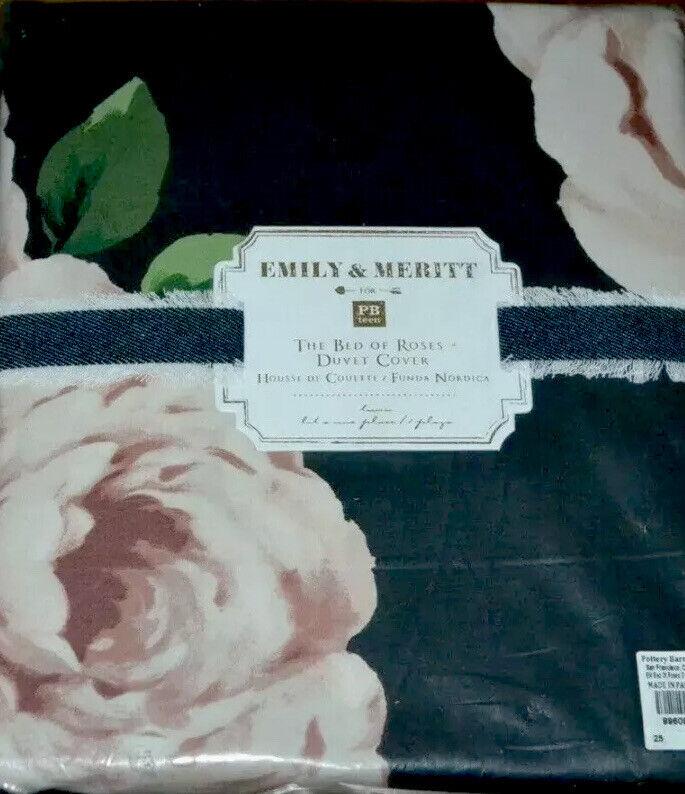POTTERY BARN EMILY & MERITT BED OF ROSES TWIN DUVET COVER NIP!